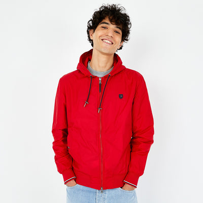 Water-resistant red canvas zip jacket