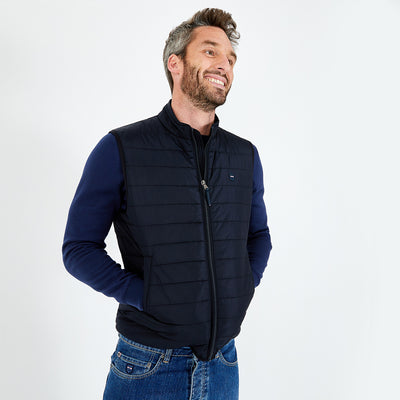 Lightweight navy blue nylon quilted gilet