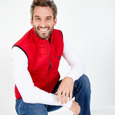 Lightweight red nylon quilted gilet