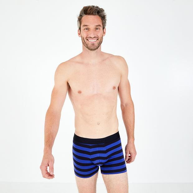 Rugby-striped blue stretch cotton boxer briefs