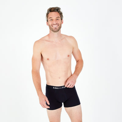 Navy blue stretch cotton boxer shorts with logo
