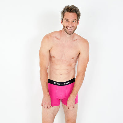Pink stretch cotton boxer shorts with logo