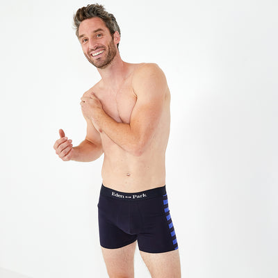 Pack of two dissimilar pairs of blue stretch cotton boxer shorts