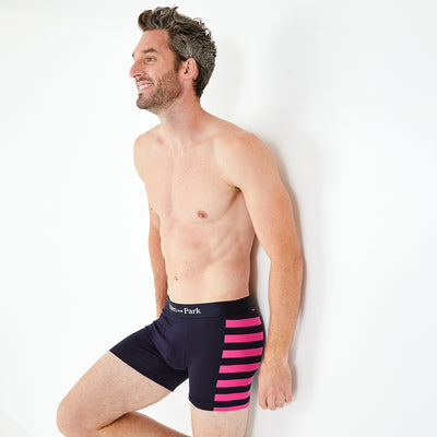 Pack of two dissimilar pairs of pink stretch cotton boxer shorts