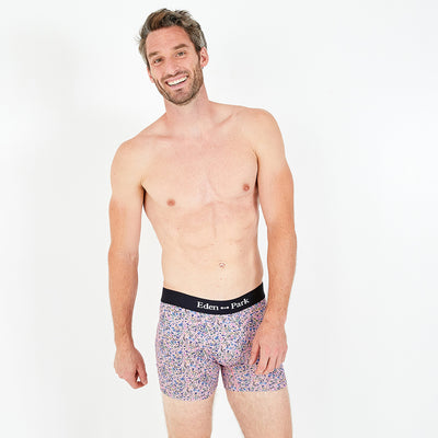 Floral patterned pink stretch cotton boxer briefs