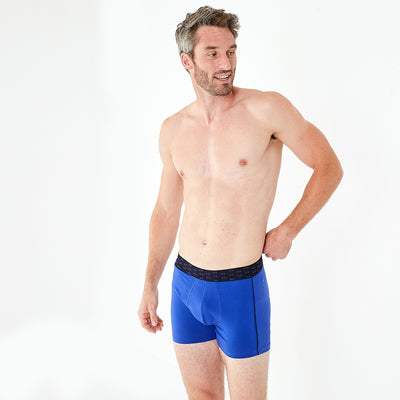 2-pack of blue and navy blue stretch cotton boxer shorts