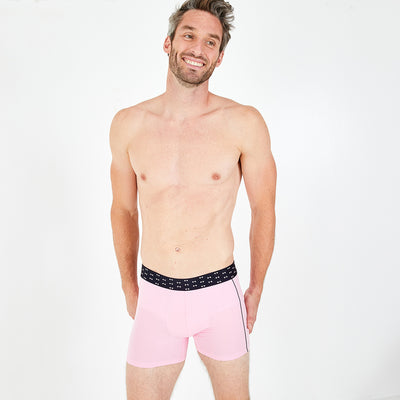 2-pack of pink and navy blue stretch cotton boxer shorts