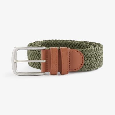 Adjustable khaki braided belt