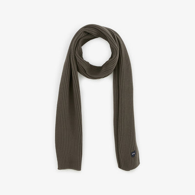 Khaki ribbed cotton scarf