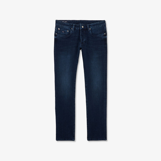 Slim fit navy blue stretch cotton jeans