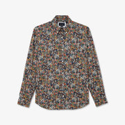 Colourful floral-patterned cotton shirt