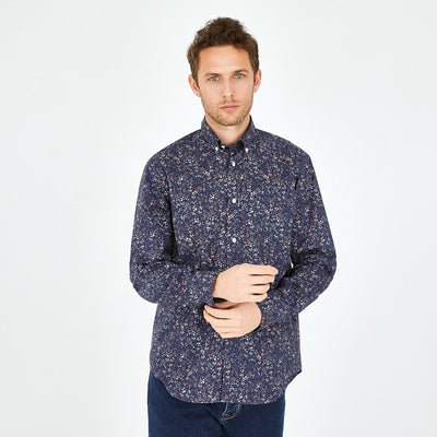 Floral print navy blue cotton shirt