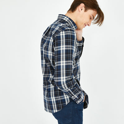 Navy blue check cotton shirt