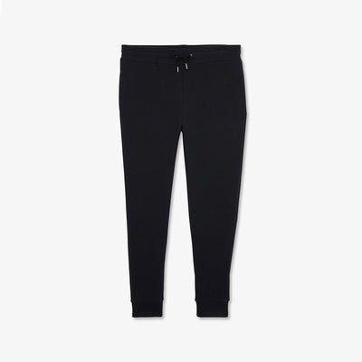 Solid black cotton fleece tracksuit trousers