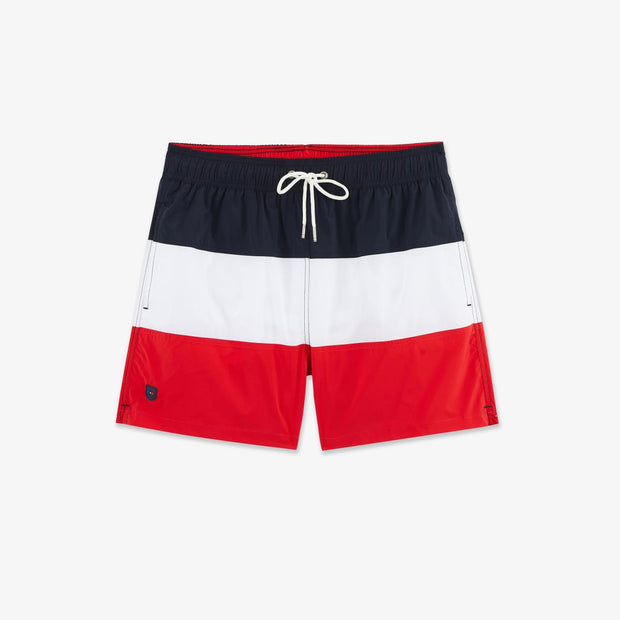 Tricolour blue white red swimming trunks