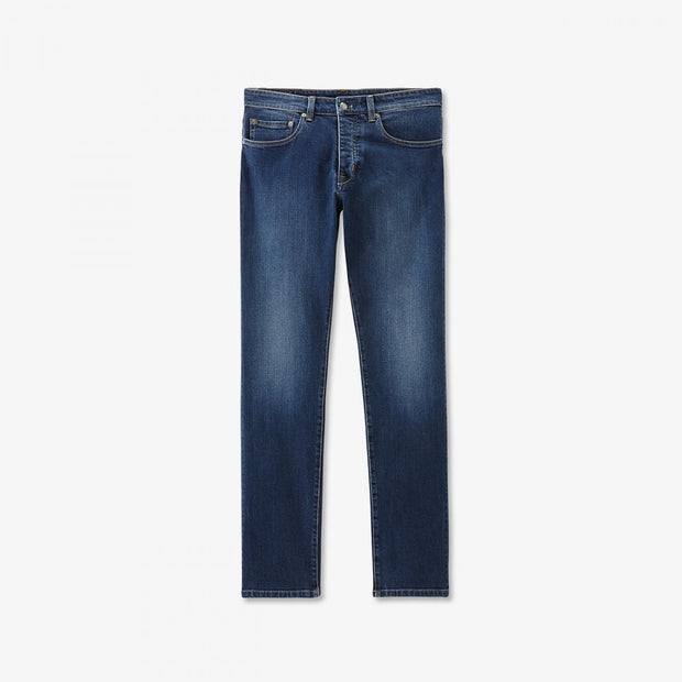 Faded dark blue stretch cotton jeans