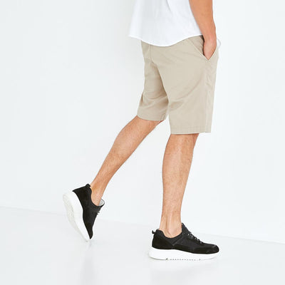 Beige stretch cotton chino-style bermudas
