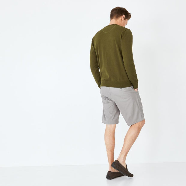 Khaki stretch cotton chino-style bermudas