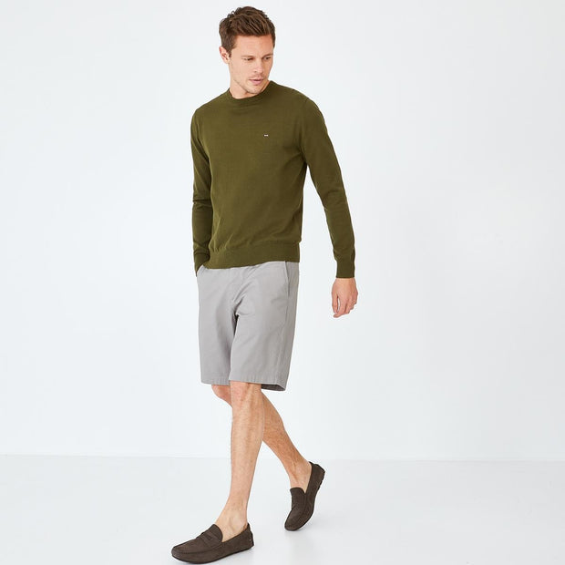 Image Eden Park Trousers & shorts - Khaki stretch cotton chino-style bermudas
