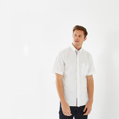 Image Eden Park Shirts - White cotton piqué short-sleeved shirt with pocket
