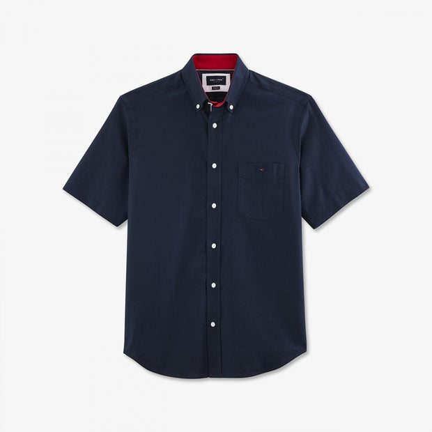 Navy blue cotton piqué short-sleeved shirt with pocket
