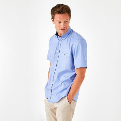 Image Eden Park Shirts - Blue cotton piqué short-sleeved shirt with pocket