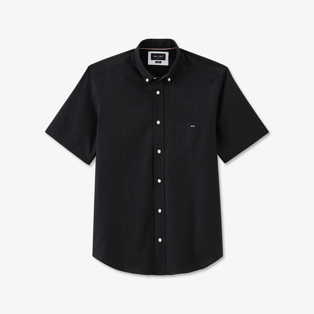 Unicolour black cotton piqué short-sleeved shirt