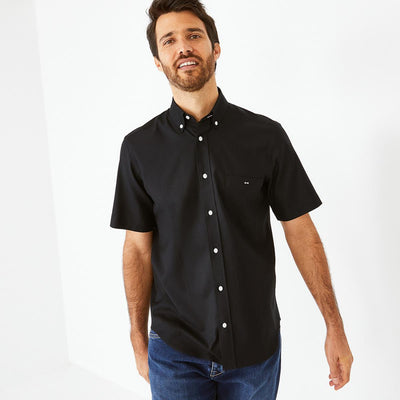 Image Eden Park Shirts - Unicolour black cotton piqué short-sleeved shirt