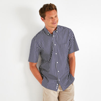 Image Eden Park Shirts - Navy blue cotton poplin striped short-sleeved shirt