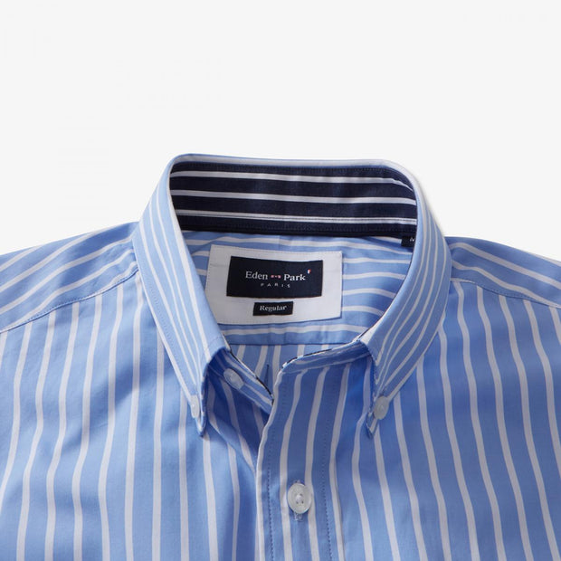 Light blue cotton poplin striped short-sleeved shirt