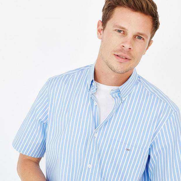 Image Eden Park Shirts - Light blue cotton poplin striped short-sleeved shirt