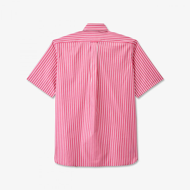 Pink cotton poplin striped short-sleeved shirt