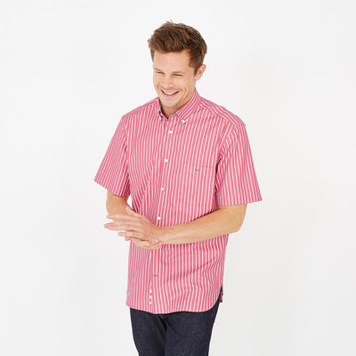 Image Eden Park Shirts - Red cotton poplin striped short-sleeved shirt