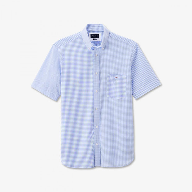 Sky blue cotton short-sleeved shirt with gingham pattern