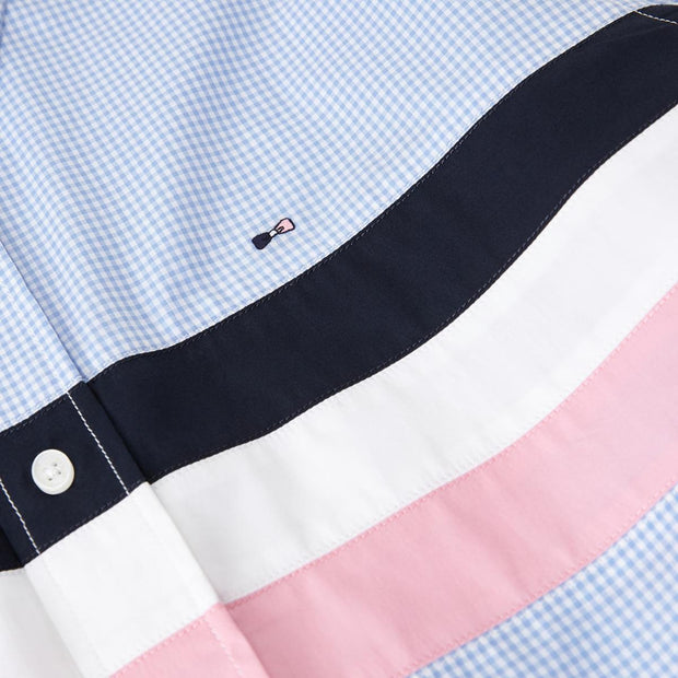 Striped cotton short-sleeved shirt with gingham pattern