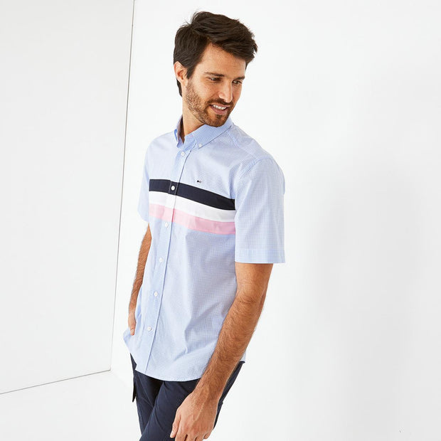 Image Eden Park Shirts - Striped cotton short-sleeved shirt with gingham pattern