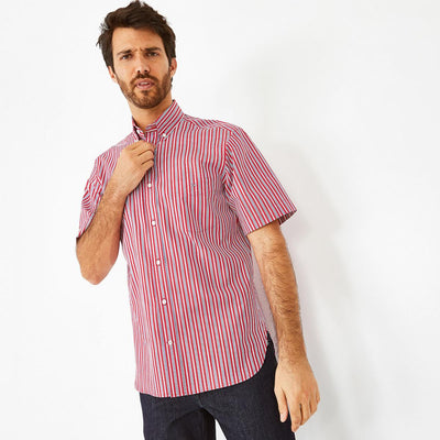 Red cotton poplin striped short-sleeved shirt