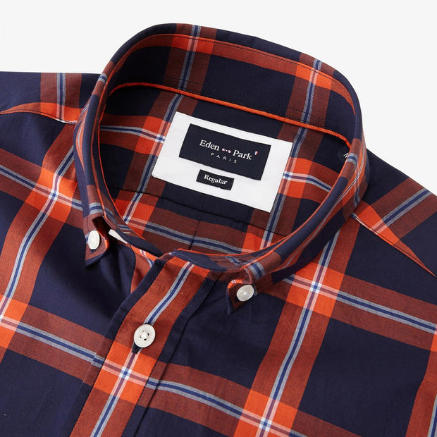 Cotton short-sleeved shirt with red check