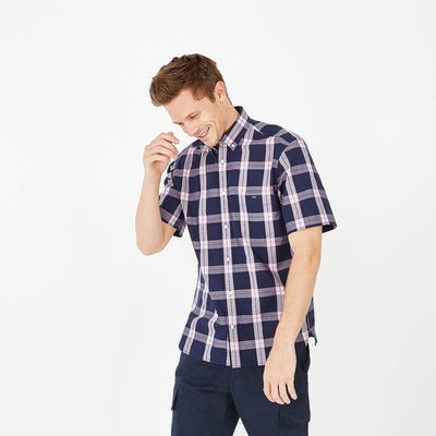 Cotton short-sleeved shirt with pink check