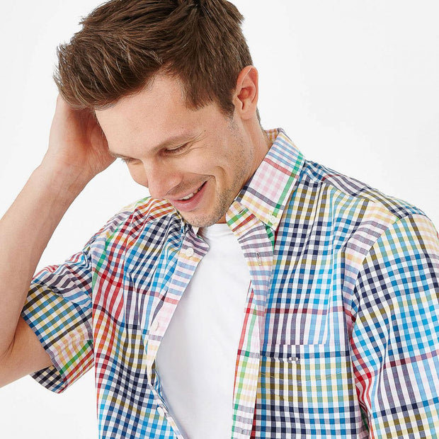 Cotton short-sleeved shirt with multicoloured check