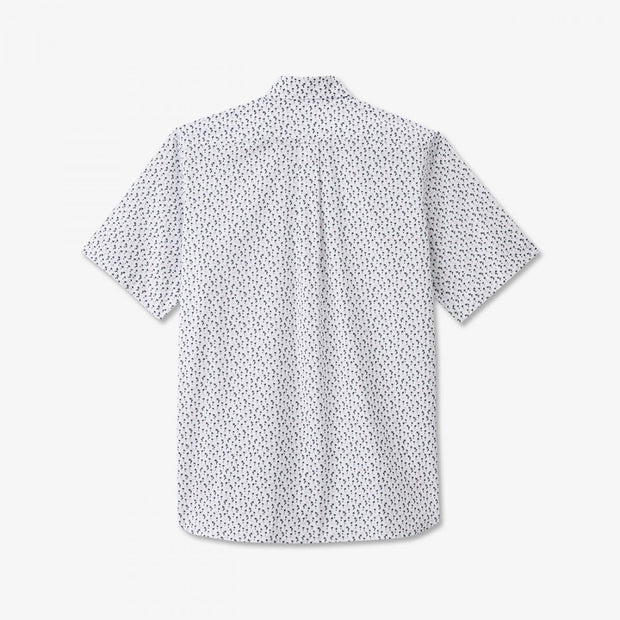 White short-sleeved shirt with palm tree micro-pattern
