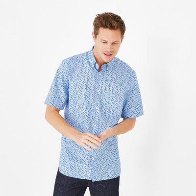 Sky blue short-sleeved shirt with palm tree micro-pattern