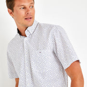 White short-sleeved shirt with bow tie micro-pattern