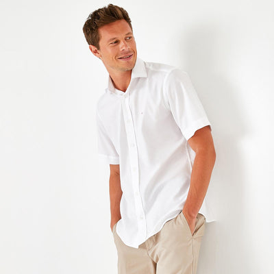 Unicolour white cotton Ville short-sleeved shirt
