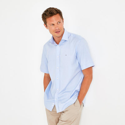 Unicolour sky blue cotton Ville short-sleeved shirt