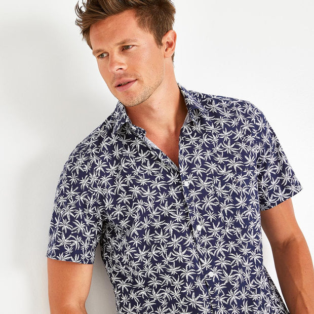 Slim fit cotton shirt with palm tree print