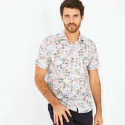 Short-sleeved cotton shirt with exotic print