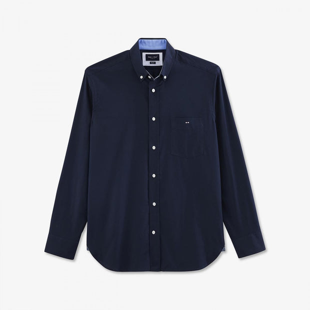 Unicolour navy blue cotton shirt with elbow patches