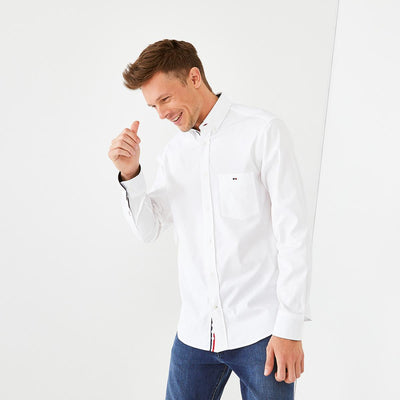 White cotton shirt with tricolour accents