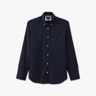Navy blue cotton shirt with tricolour accents